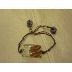 Pulsera de cristal artesanal, rectangular.