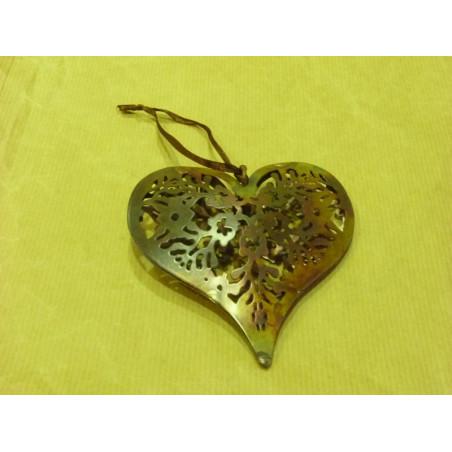 Colgante de corazón con efecto de cobre envejecido