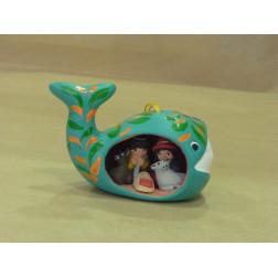 Belén colgante ballena de cerámica