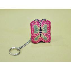 Llavero-portamonedas de cuero, forma mariposa
