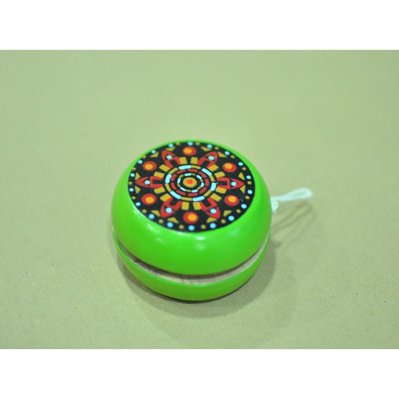 Yoyo madera pintado a mano, color verde 6.5 cm