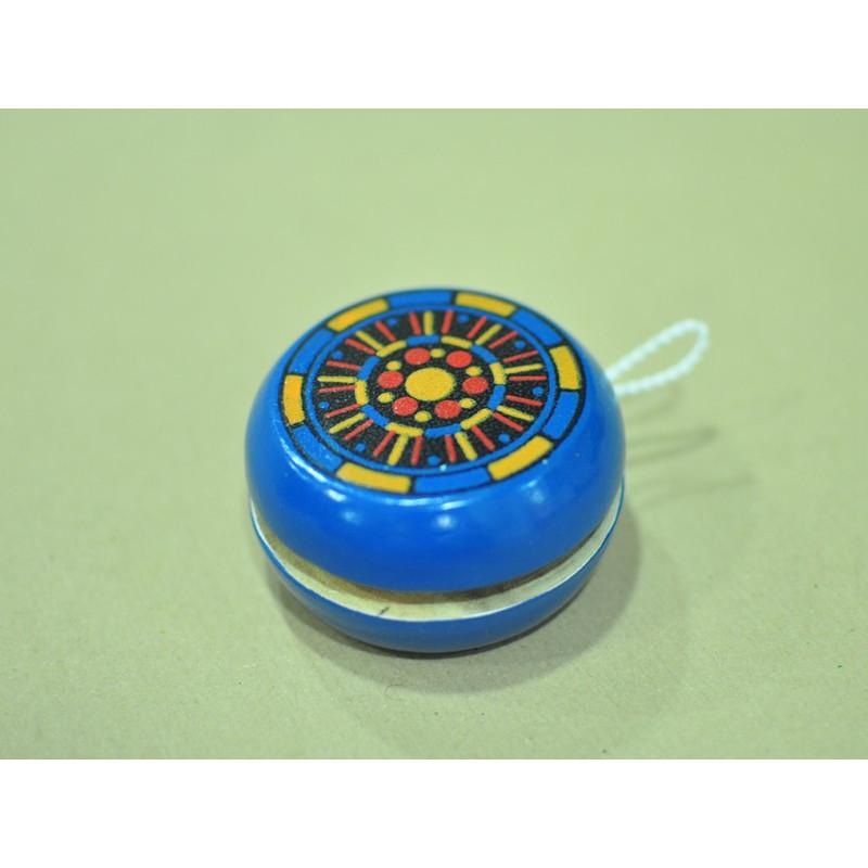 Yoyo madera pintado a mano, color azul - 6.5 cm