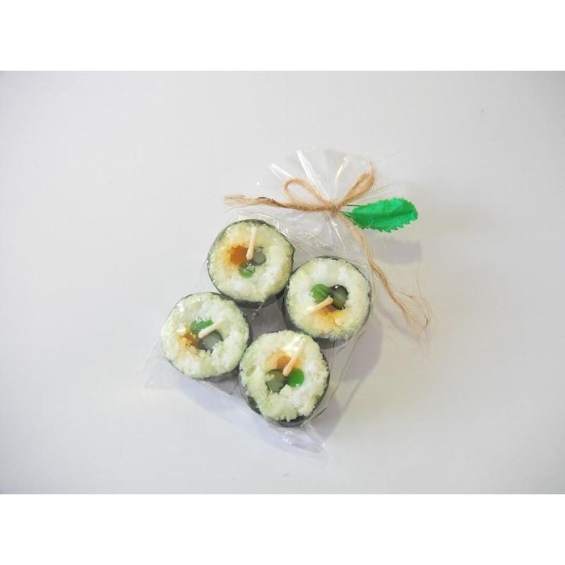 Velas verdes imitación sushi