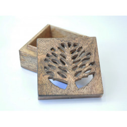 Caja de madera diseño árbol 11x11x6cm
