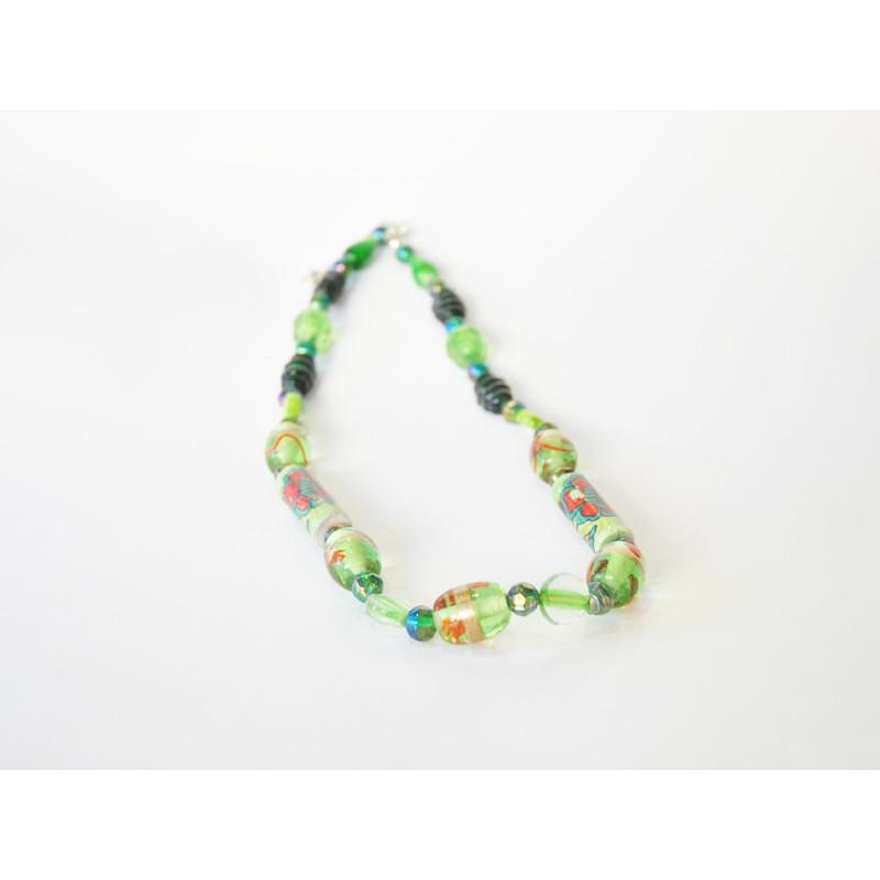 Collar vidrio de color verde diseño flores - 50cm
