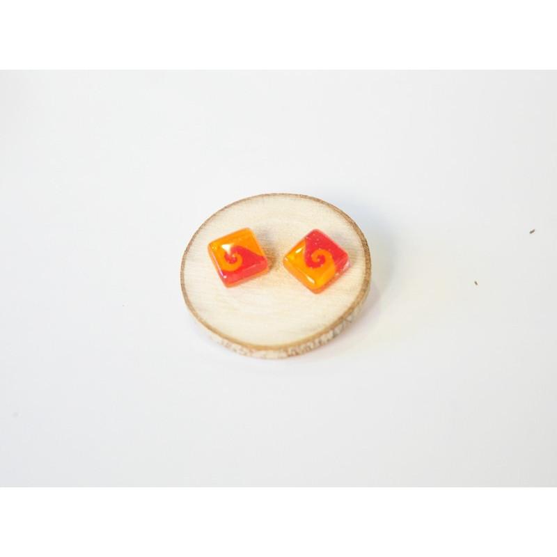 Pendiente cuadrado naranja y rojo 10x10cm
