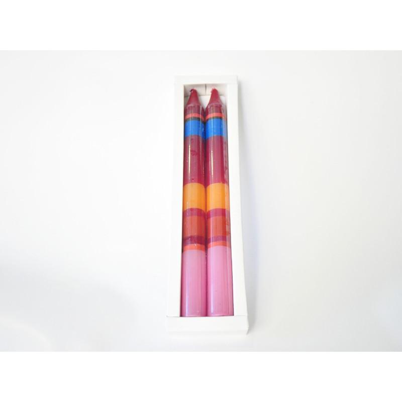Conjunto de 2 velas parafina hechas a mano 2x23cm