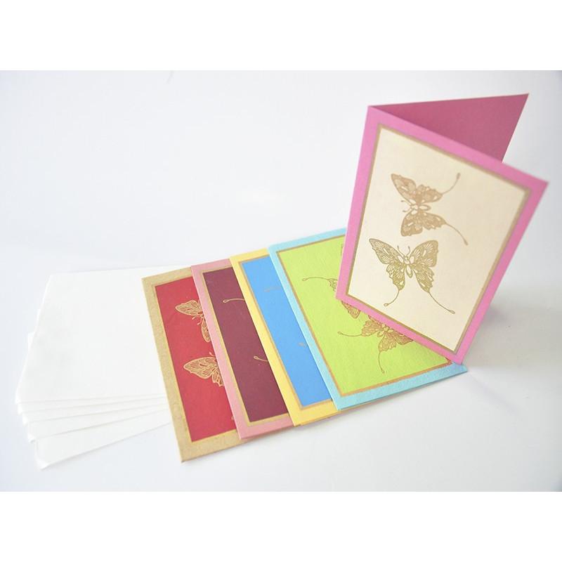Tarjetas hechas a mano de papel c/ sobres, set 5