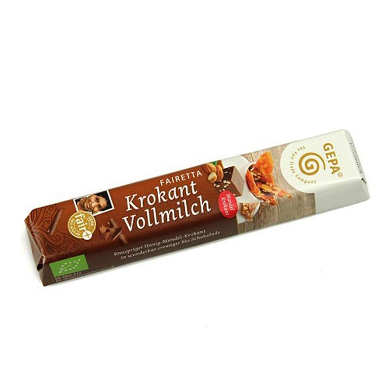 Chocolatina Krocante de chocolate con leche y almendras, BIO