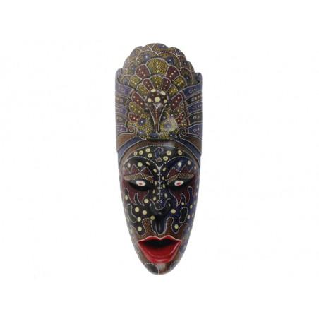 Mascara madera decorada a mano, puntillismo 55cm