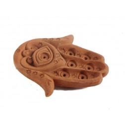 Porta-incienso forma mano de Fátima en terracota
