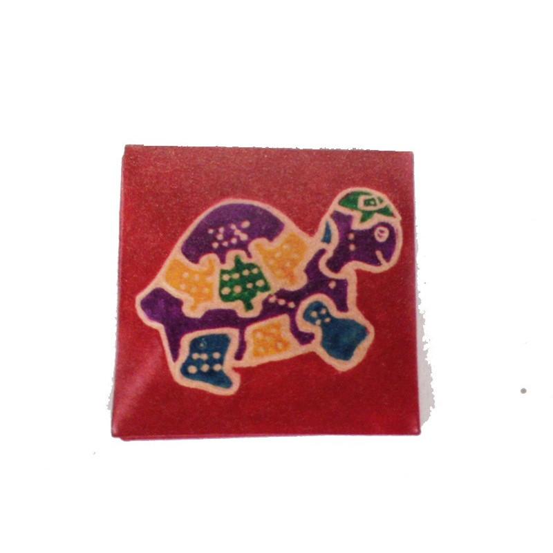Monedero cuadrado tortuga 6,5 cm