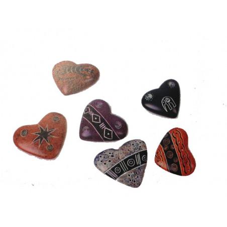 Piedra pisapapeles forma corazón, grabados variados