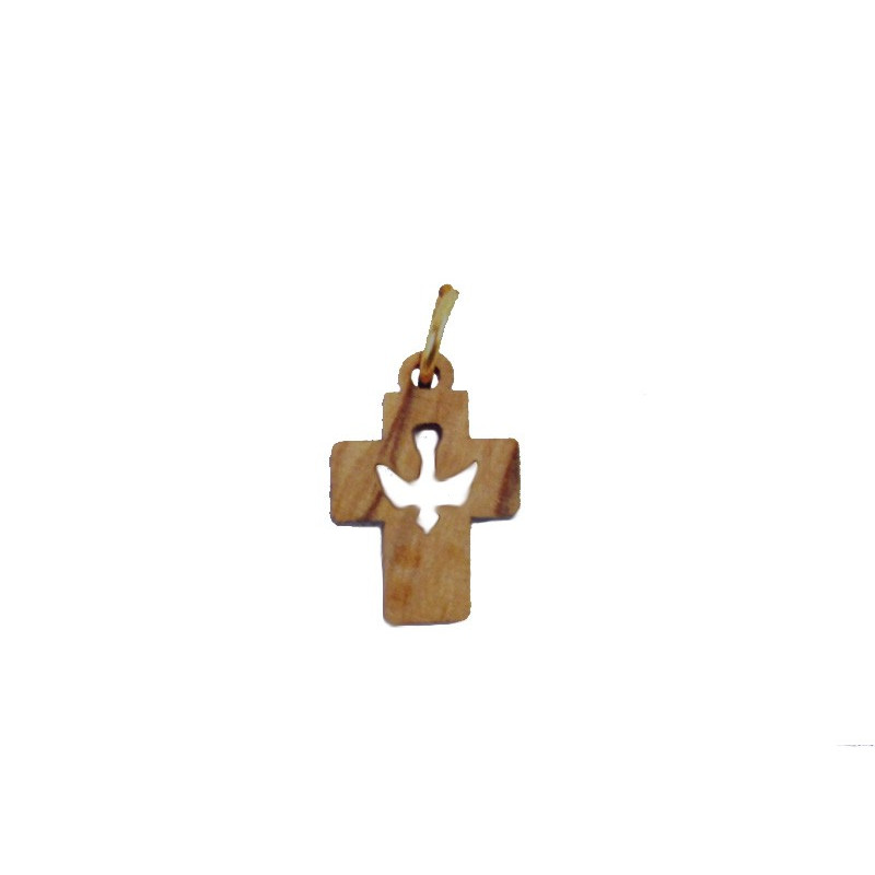 Colgante madera tallada, forma de cruz
