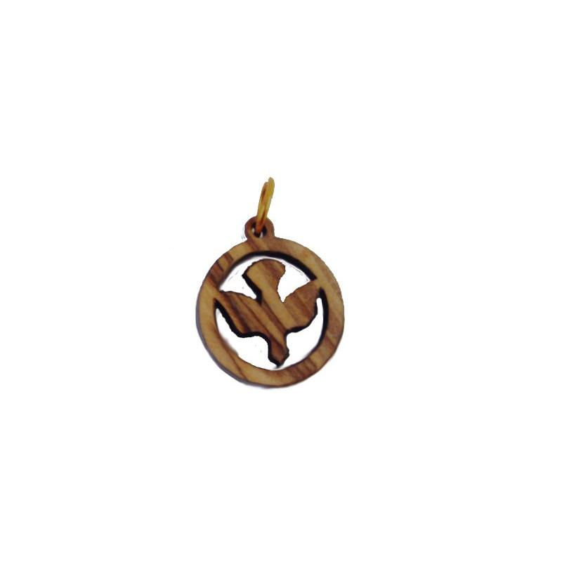 Colgante madera tallada, forma de círculo con paloma