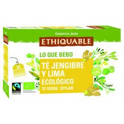 Té Verde con jengibre y lima, BIO, 25 bolsitas