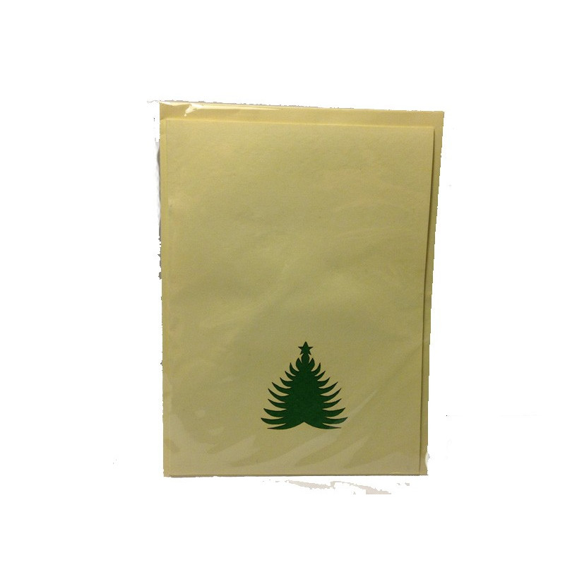 Tarjeta Navidad grabado arbol