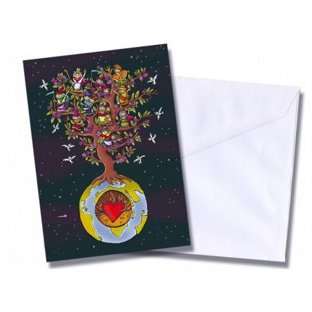 "Tarjeta/postal ""Mundo y corazón"""