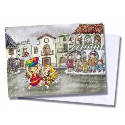 """Tarjeta/postal """"Bailando bajo la lluvia"""""""
