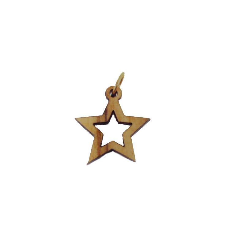 Colgante madera tallada, forma de estrella