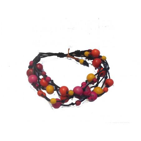 Brazalete ajustable hilo y semillas multicolor