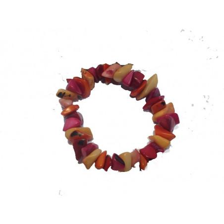 Pulsera de tagua rojo/rosa, elástica