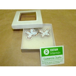 Pendientes forma mariposa papel reciclado, en cajita