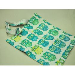 Bolso algodón búhos verde, amarillo, azul 37*42 cm