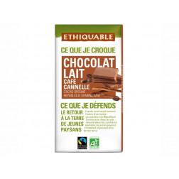 Tableta de chocolate de leche con café y canela, BIO