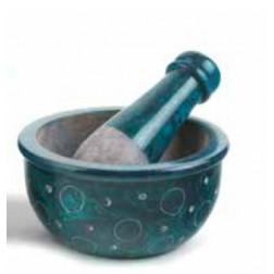 Mortero piedra esteatita turquesa