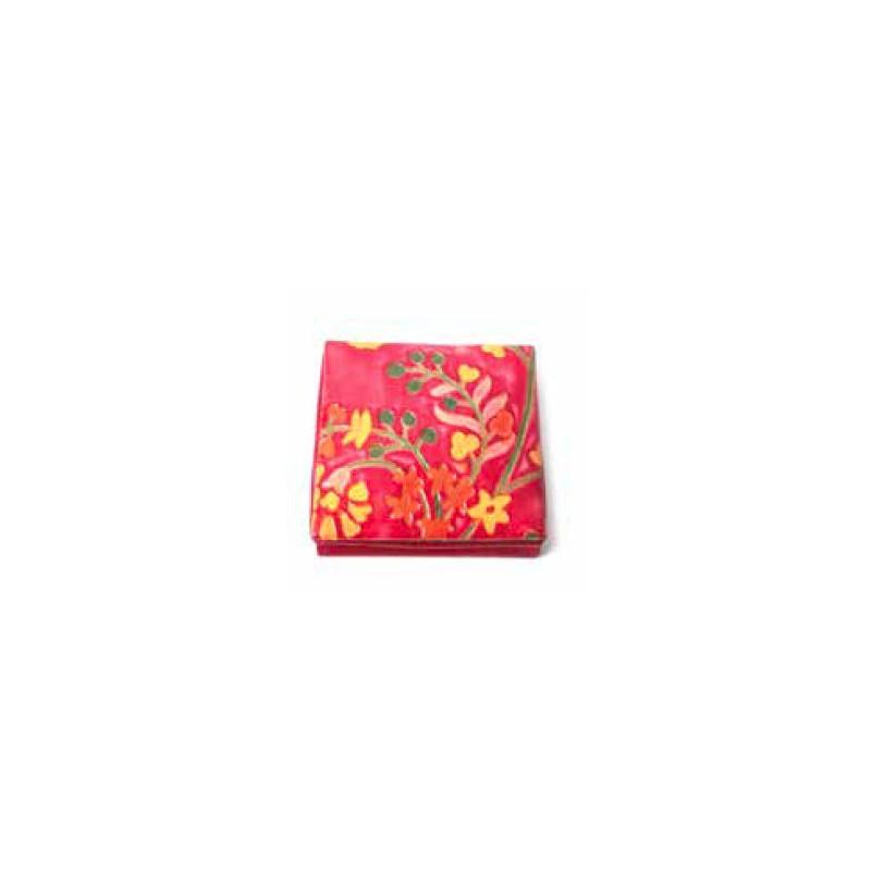 Portamonedas rojo flores