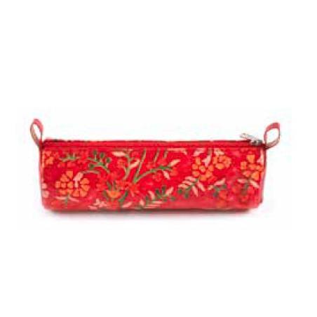 Estuche cuero rojo flores