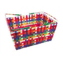Cesta plástico y metal multicolor
