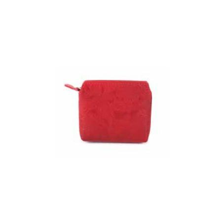 Monedero cuero tallado, rojo