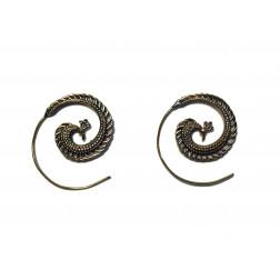 Pendientes espiral latón dorada, 3cm