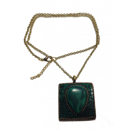 Collar piedra mosaico verde 64cm, ajustable