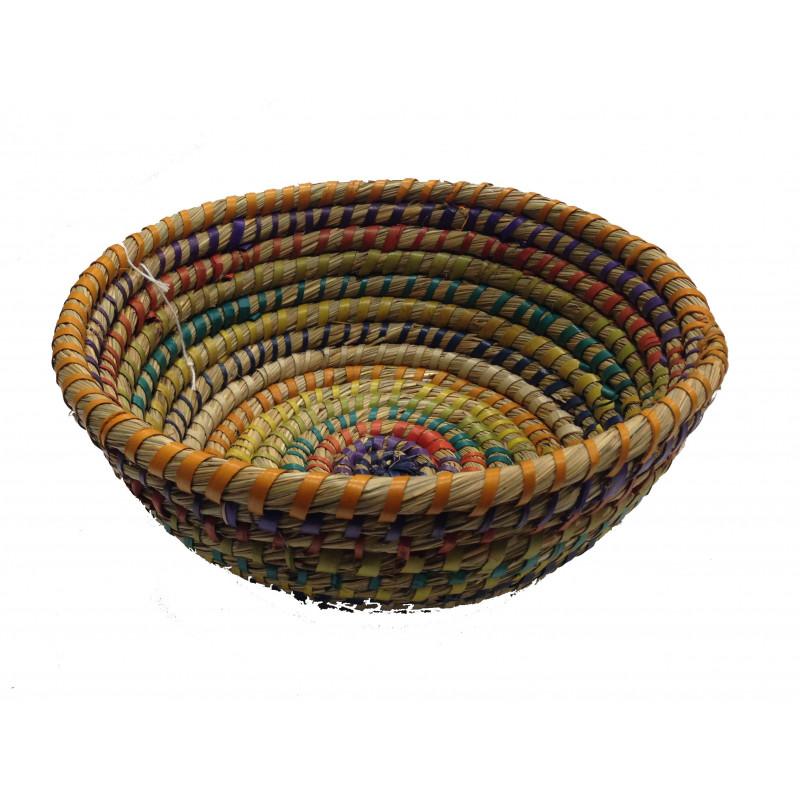 Cesta fibra natural hilo multicolor 26*10cm