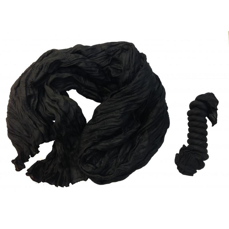 Pañuelo arrugado, algodón negro