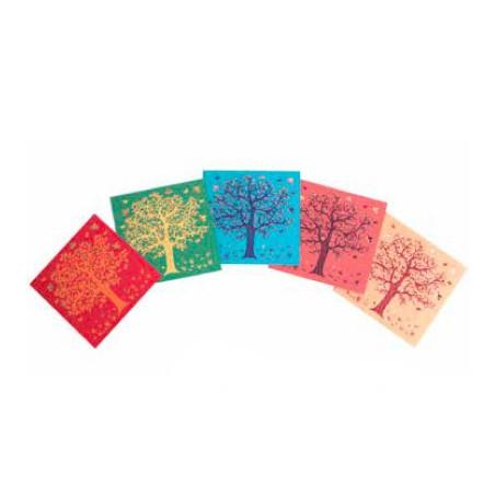 Set 5 tarjetas árbol, colores variados