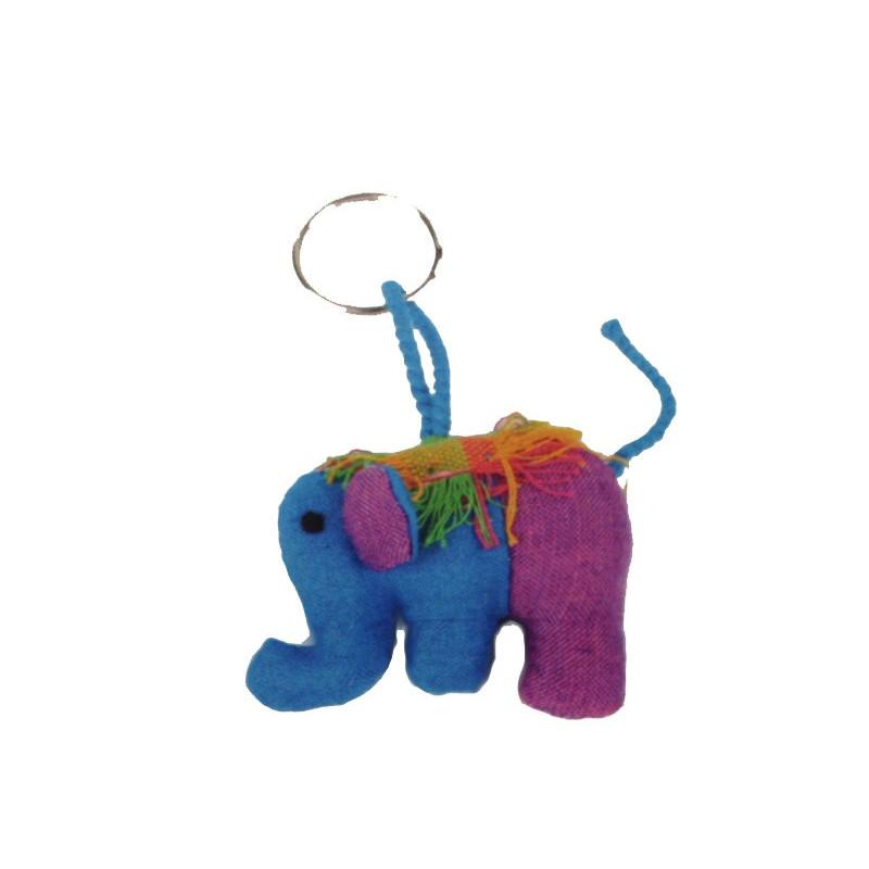 Llavero de tela forma elefante, tejido a mano