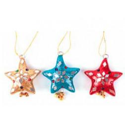 Estrella navidad con lentejuelas, colores variados