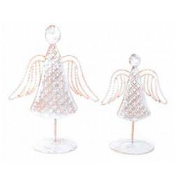 Angel con pedestal blanco y oro 19cm