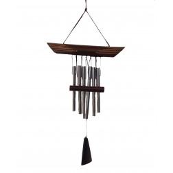 Móvil de viento, metal y bambú