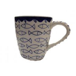 Taza cerámica dibujo peces 8.5*9.5cm