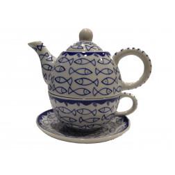 Tetera peces con taza, cerámica - 16cm