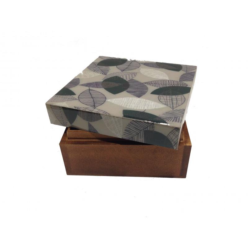 Caja madera hojas laminadas 10-10-5.5cm