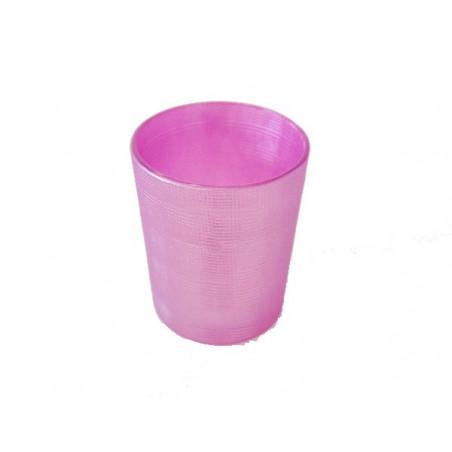 Vasito para vela vidrio rosa