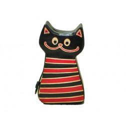 Hucha piel gatito negro 7*3*12 cm