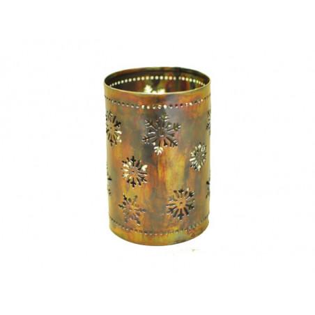 Base para vela en hierro, copos de nieve, 9*12cm