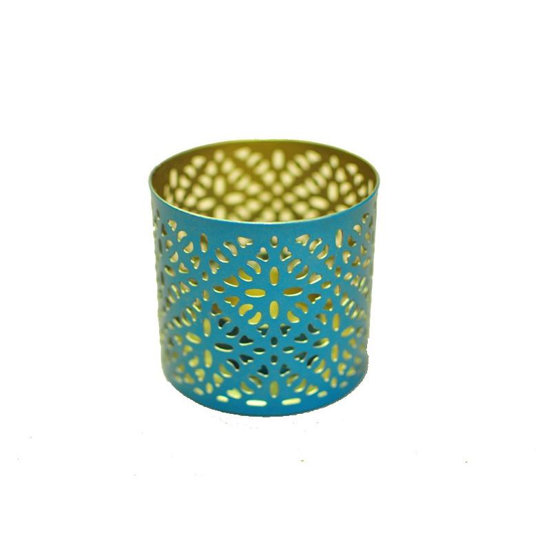 Base para vela metal color azul 7*7cm.